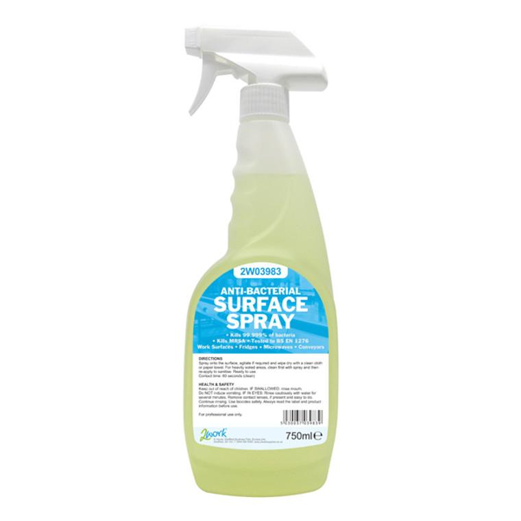 2W04586 2Work Antibacterial Surface Spray 750ml Pack 6 242 PACK