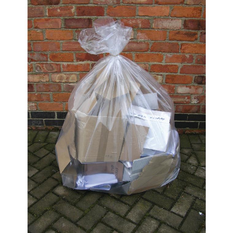 KF73374 2Work Wheelie Bin Liner Clear Pack 100 KF73374