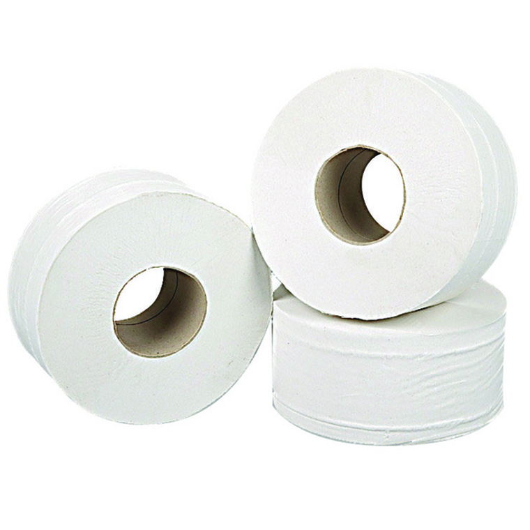 2W70323 2Work 2-Ply Mini Jumbo Toilet Roll White Pack 12 J27200VW