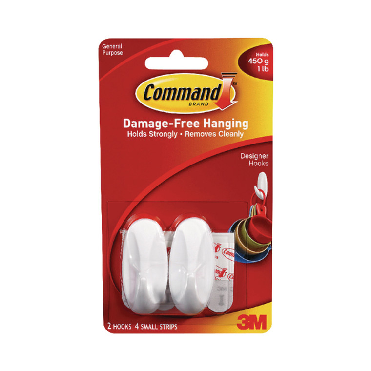 3M76909 3M Command Small Oval Hooks With Command Adhesive Strips 17082