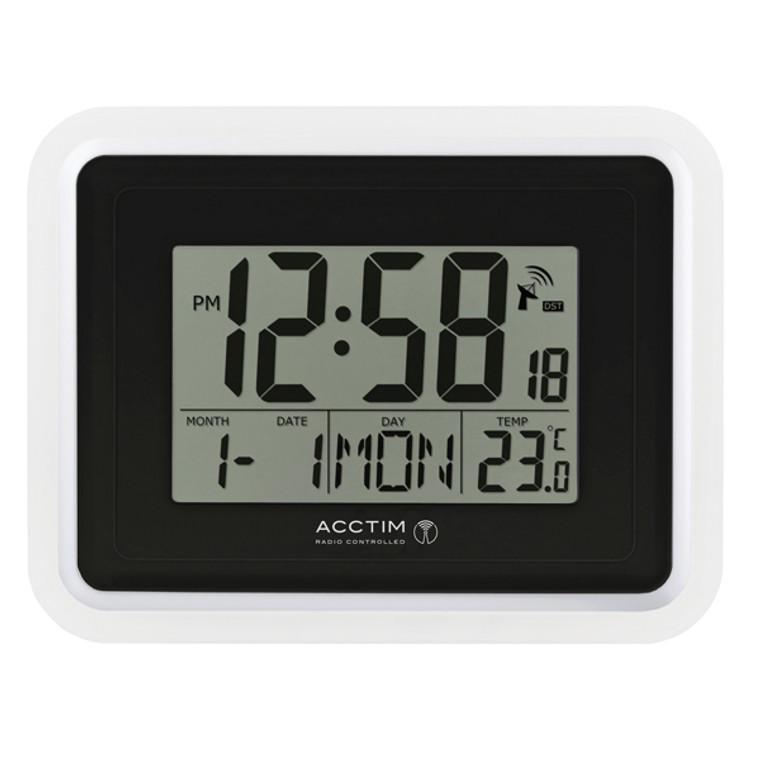 ANG74467 Acctim Lancia Radio Controlled Digital Clock Silver White 74573