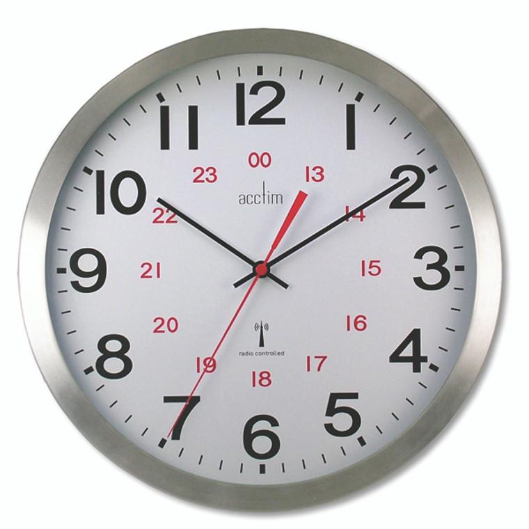 ANG74457 Acctim Century 24 Hour Radio Controlled Clock Aluminium 74457