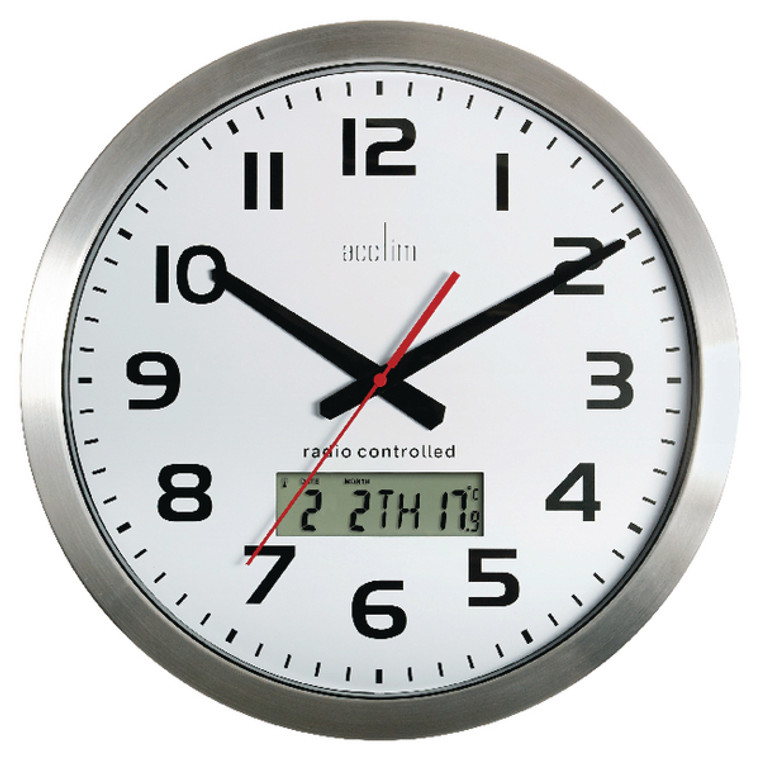 ANG74447 Acctim Meridian Radio Controlled Wall Clock Aluminium 74447