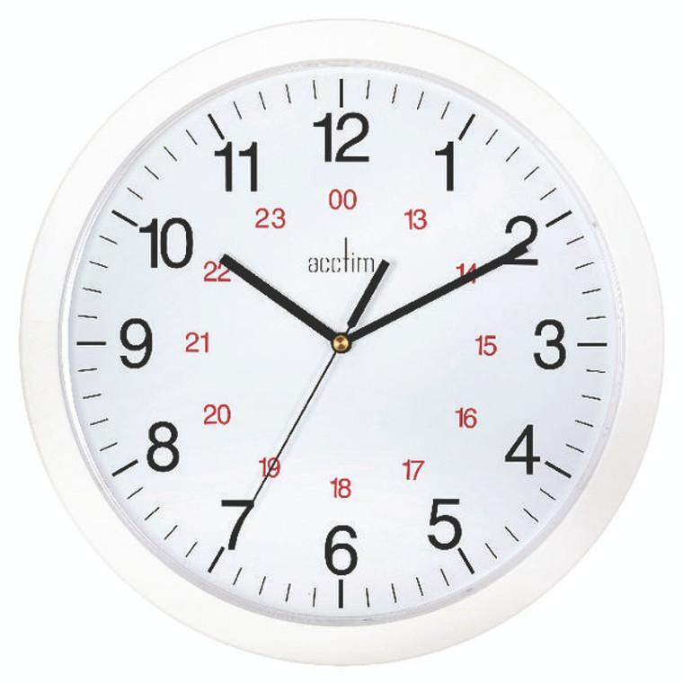 ANG21162 Acctim Metro 24 Hour Plastic Wall Clock 300mm White 21162