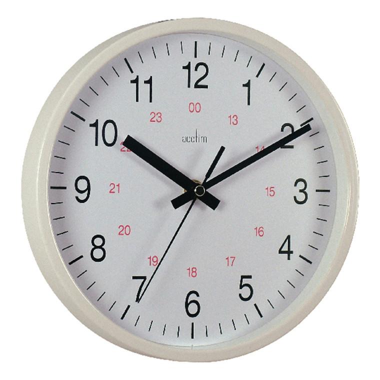 ANG21202 Acctim Metro 24 Hour Plastic Wall Clock 355mm White 21202