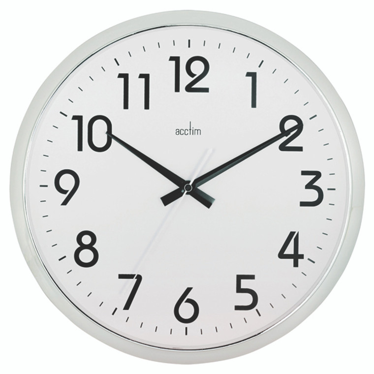 ANG21287 Acctim Orion Silent Sweep Wall Clock 320mm Chrome White 21287