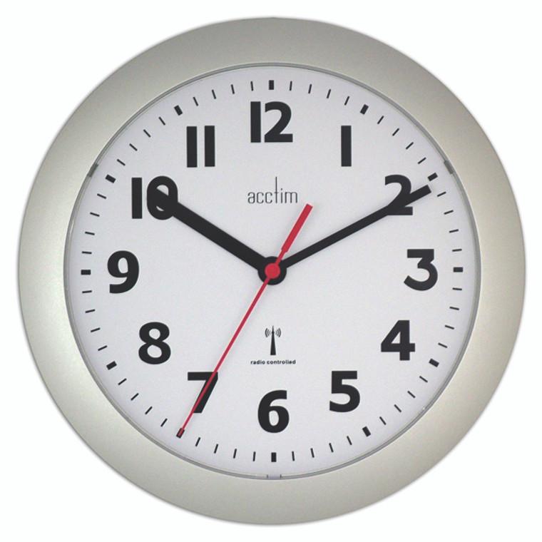 ANG74317 Acctim Parona Radio Controlled Plastic Wall Clock Silver 74317
