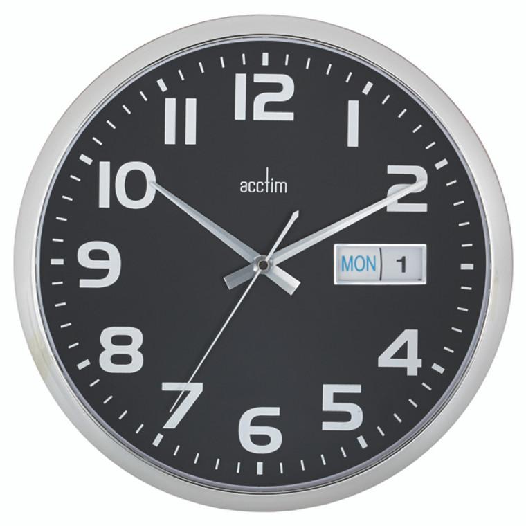ANG21023 Acctim Supervisor Wall Clock 320mm Chrome Black 21023