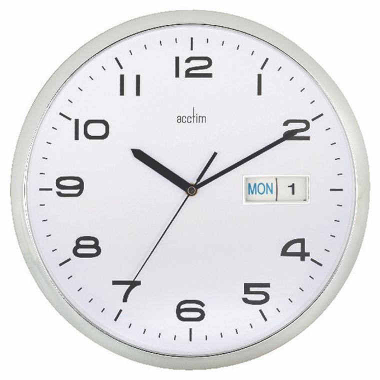 ANG21027 Acctim Supervisor Wall Clock 320mm Chrome White 21027