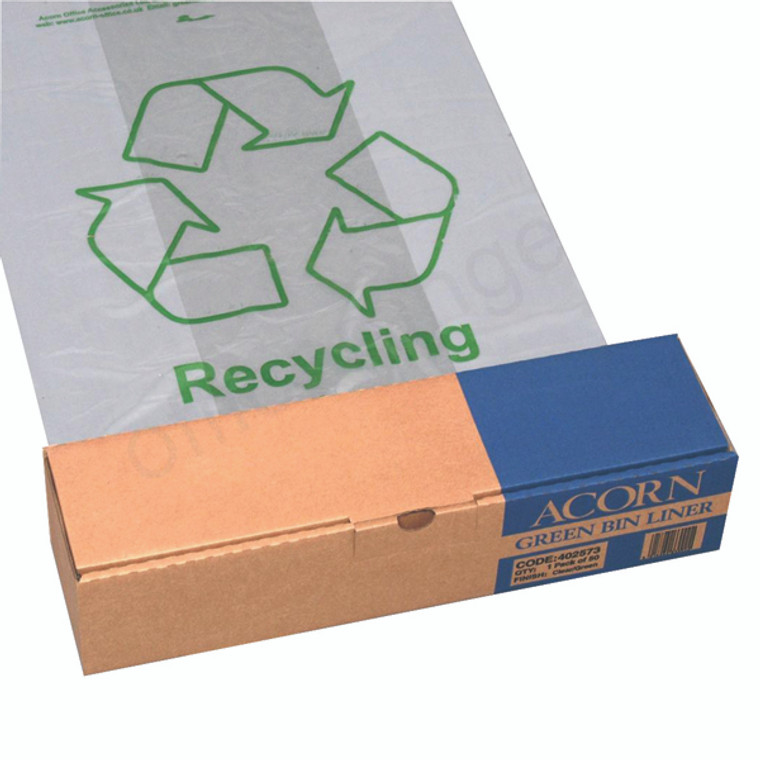 NW33002 Acorn Bin Printed Recycling Bin Liner Clear Green Pack 50 402573