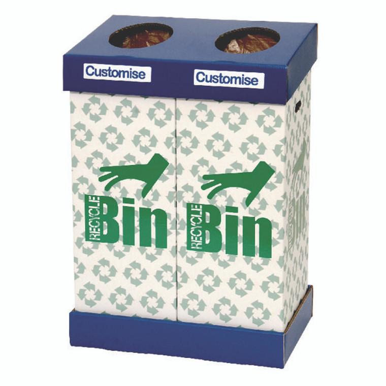NW44023 Acorn Office Twin Recycling Bin Blue Green 95 litres each bin 802853