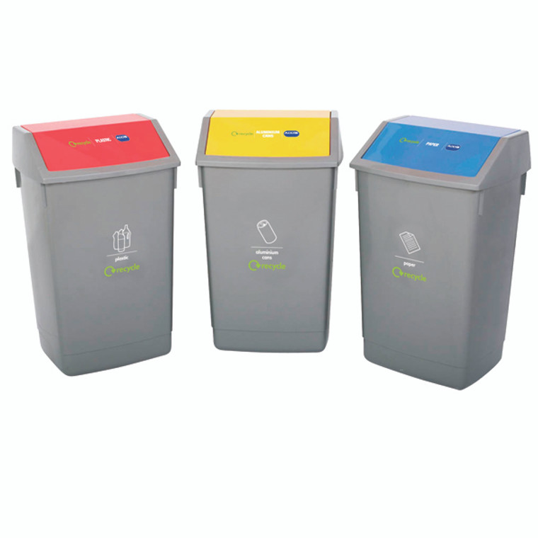 AG813419 3 x Addis Recycling Bin Kit 3 different coloured bins with 60 litre capacity each 505575 505574