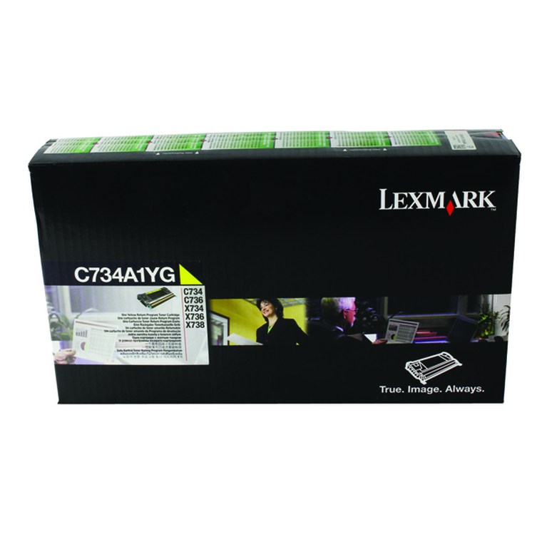 0C734A1YG Lexmark C734A1YG 734 Yellow Toner Use Return