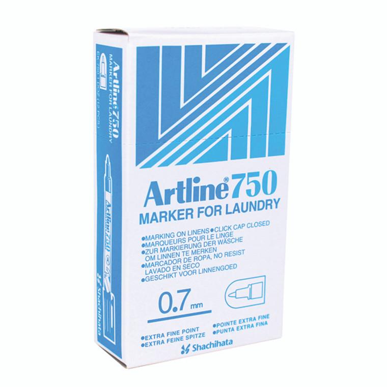 AR80450 Artline 750 Laundry Marker Bullet Tip Fine Black Pack 12 A750