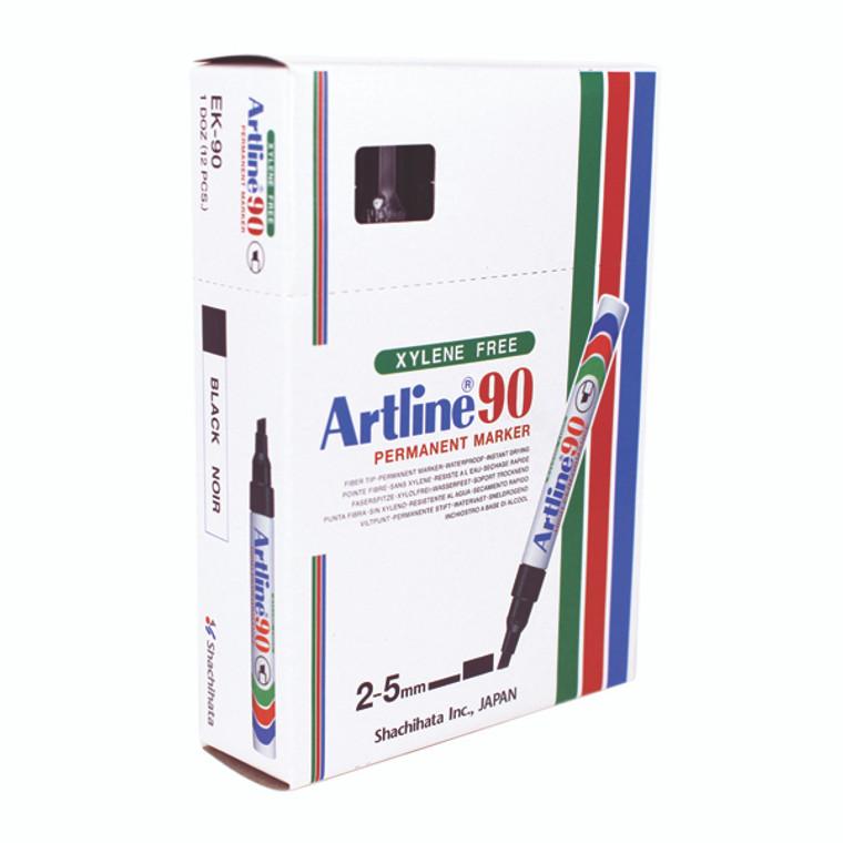 AR80254 Artline 90 Chisel Tip Permanent Marker Black Pack 12 A901