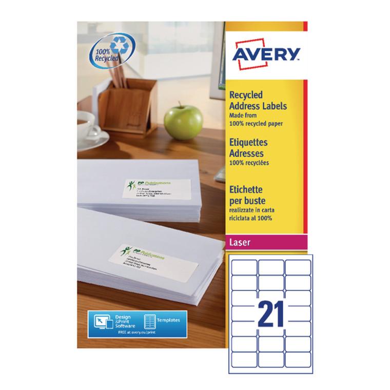 AV81505 Avery Laser Label Recycled 21 Per Sheet Wht Pack 2100 LR7160-100