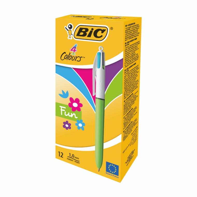 BC21913 Bic 4 Colours Fashion Ballpoint Pen Pink Purple Blue Green 12 Pack 887777