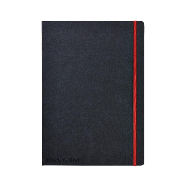 JD812000 Black n Red Casebound Hardback Notebook A4 Black 400038675
