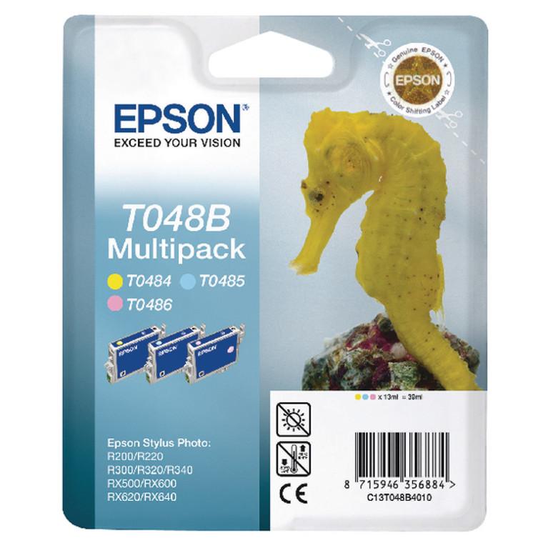 T048140BA Epson C13T048140 T0487 Blk C LC M LM Y Multipack 6 Ink Cartridges Seahorse