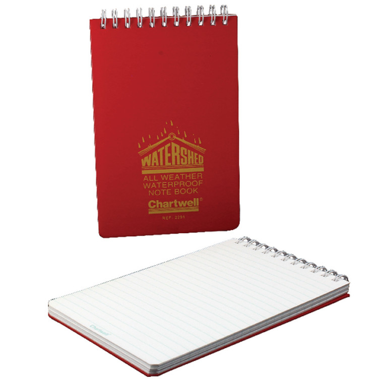 CH17019 Exacompta Chartwell Ruled Watershed Waterproof Book 101x156mm Red 2291