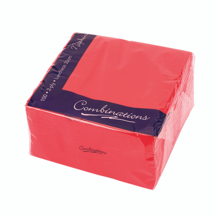 CPD01215 Maxima Napkins 330x330mm 2-Ply Red Pack 100 VSMAX33 2R
