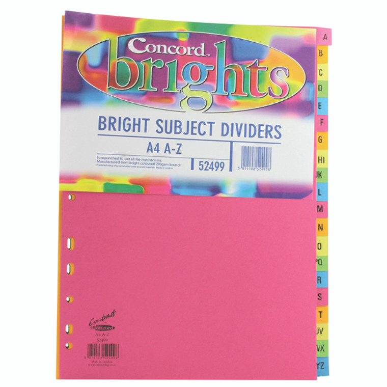 JT52499 Concord Index A-Z 20-Part A4 160gsm Bright Assorted Pack 10 52499
