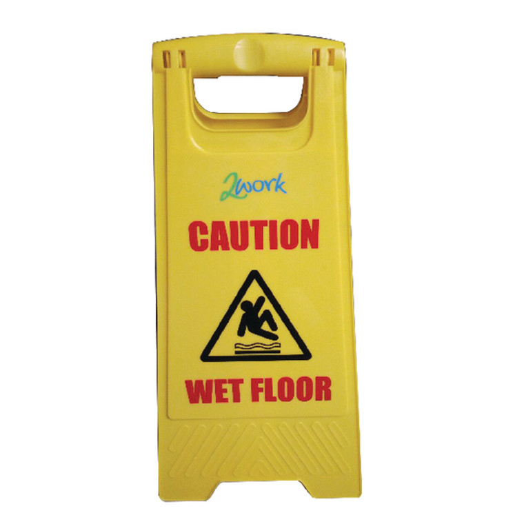CNT00356 2Work Caution Folding Safety Sign Yellow 101423