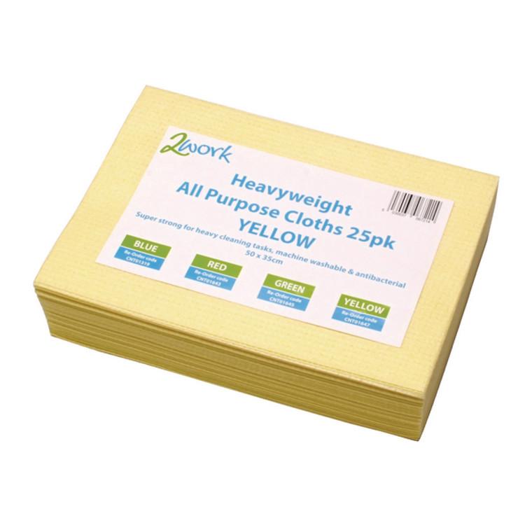 CNT01647 2Work Heavyweight Cloth 400x400mm Yellow Pack 25 103278