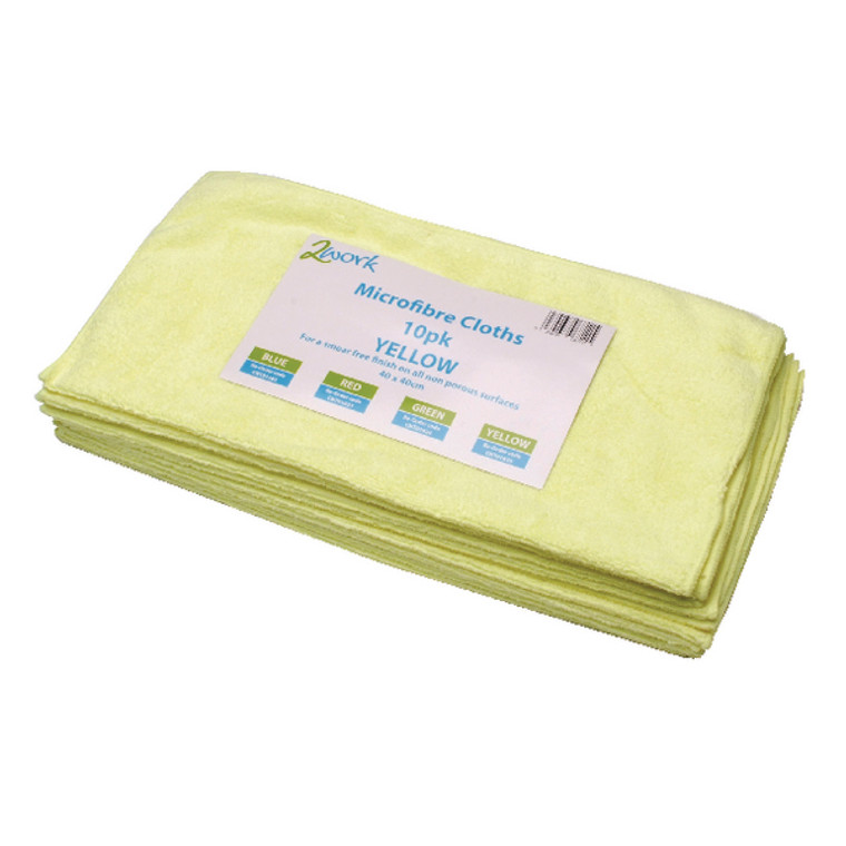 CNT01625 2Work Yellow 400x400mm Microfibre Cloth Pack 10 101161YL