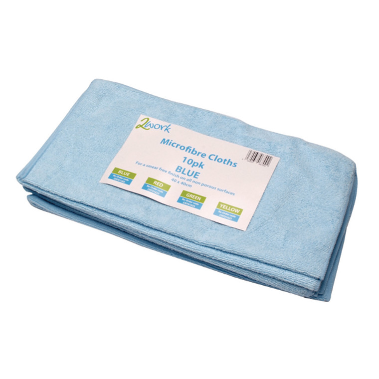 CNT01262 2Work Microfibre Cloth 400x400mm Blue Pack 10 101161BU