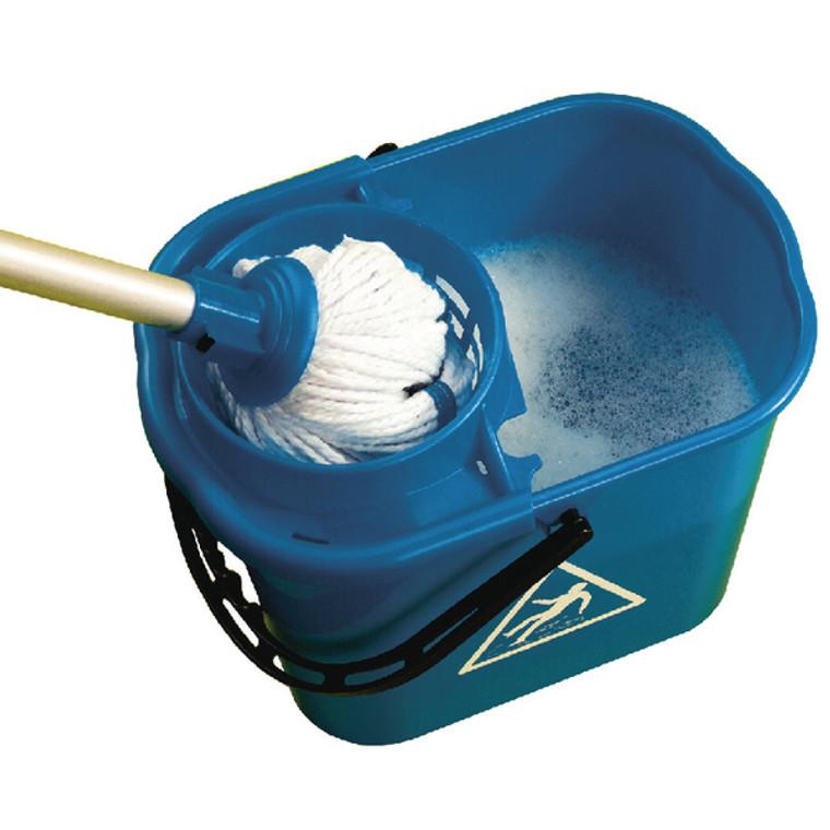 CNT00660 2Work Plastic Mop Bucket with Wringer 15 Litre Blue 102946BU