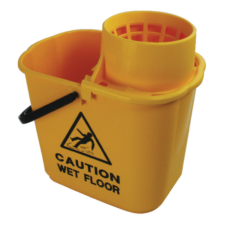 CNT00691 2Work Plastic Mop Bucket with Wringer 15 Litre Yellow 102946YL