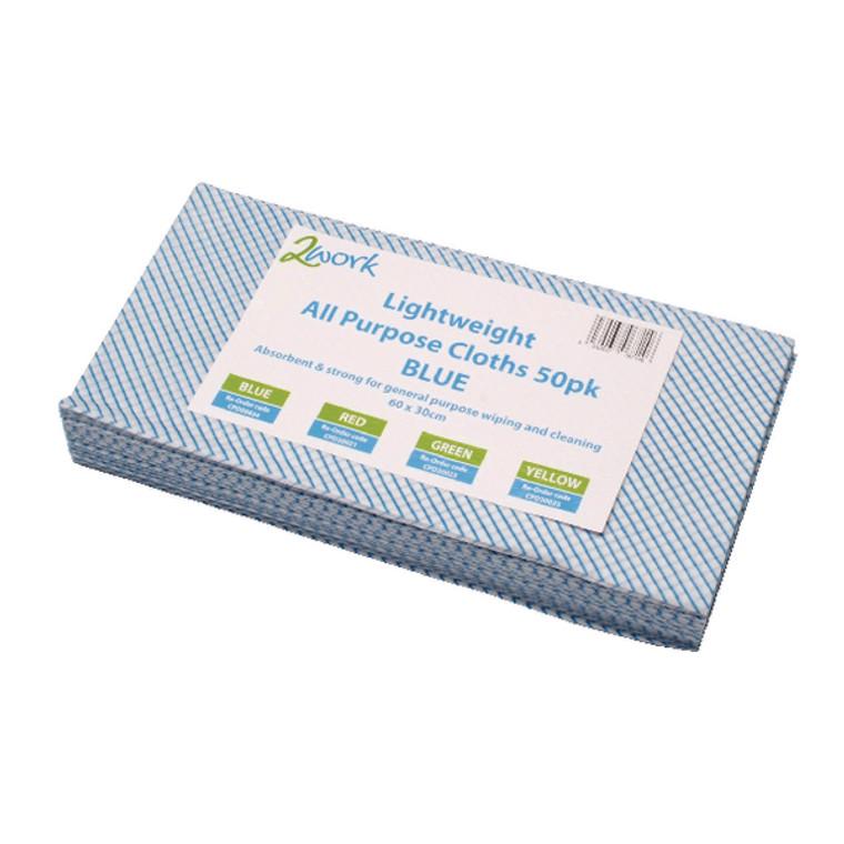 CPD00634 2Work All-Purpose Cloth 600x300mm Blue Pack 50 102840BU