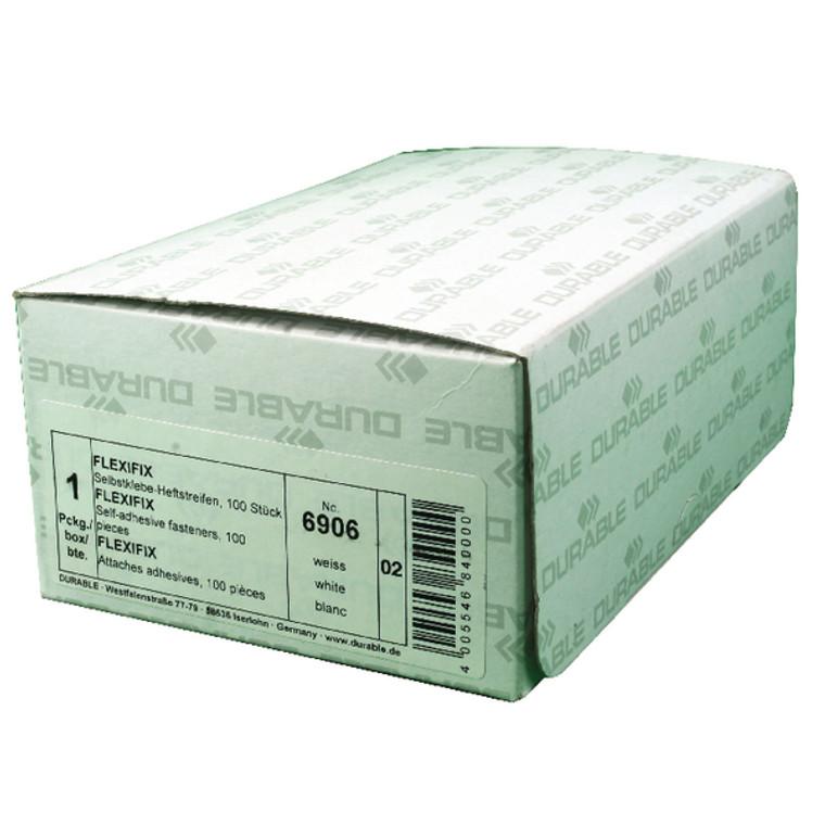 DB6906 Durable Flexifix File Fastener Self Adhesive 8cm White Pack 100 6906 02
