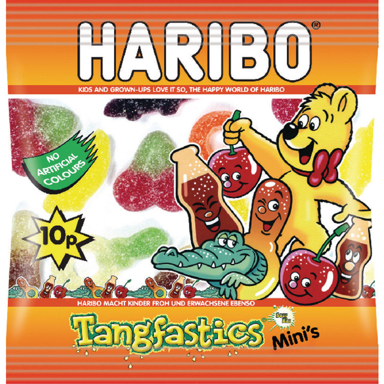 HB91191 Haribo Tangfastics Small Bag Fruity sweets with sour sugar coating Pack 100 73143