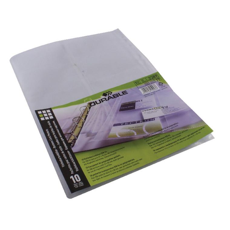DB2389 Durable Visifix Business Card Pockets Refill A4 Pack 10 2389