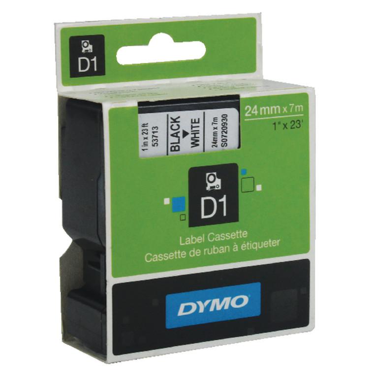 ES53713 Dymo 53713 D1 Labelmaker Tape 24mm x 7m Black on White S0720930