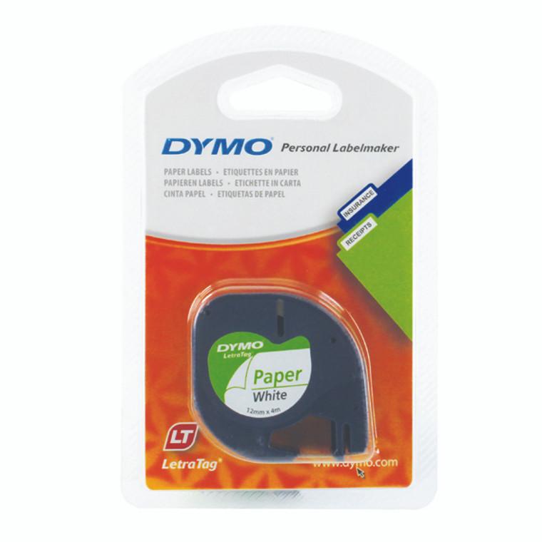 ES91200 Dymo 91200 LetraTAG Paper Tape 12mm x 4m White S0721510