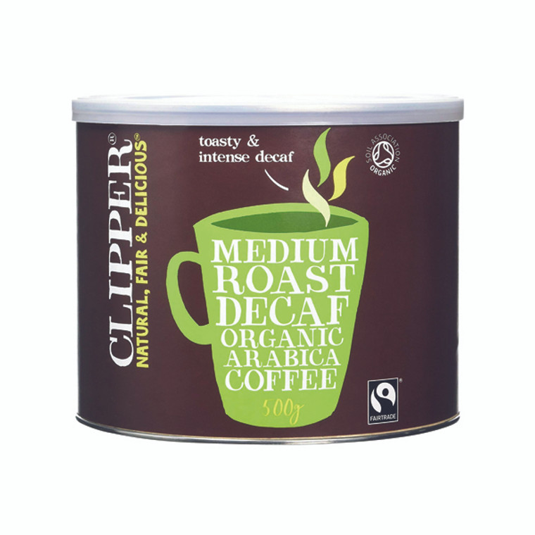 BZ54323 Clipper Fairtrade Organic Decaffeinated Coffee Tin 500g A06746