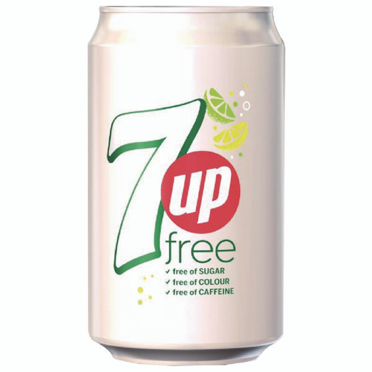 BRT10879 7 Up Free Lemon Lime Carbonated Canned Soft Drink 330ml Pack 24 402049