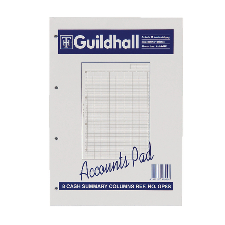 GHGP8S Exacompta Guildhall Account Pad 8-Column Summary A4 GP8S
