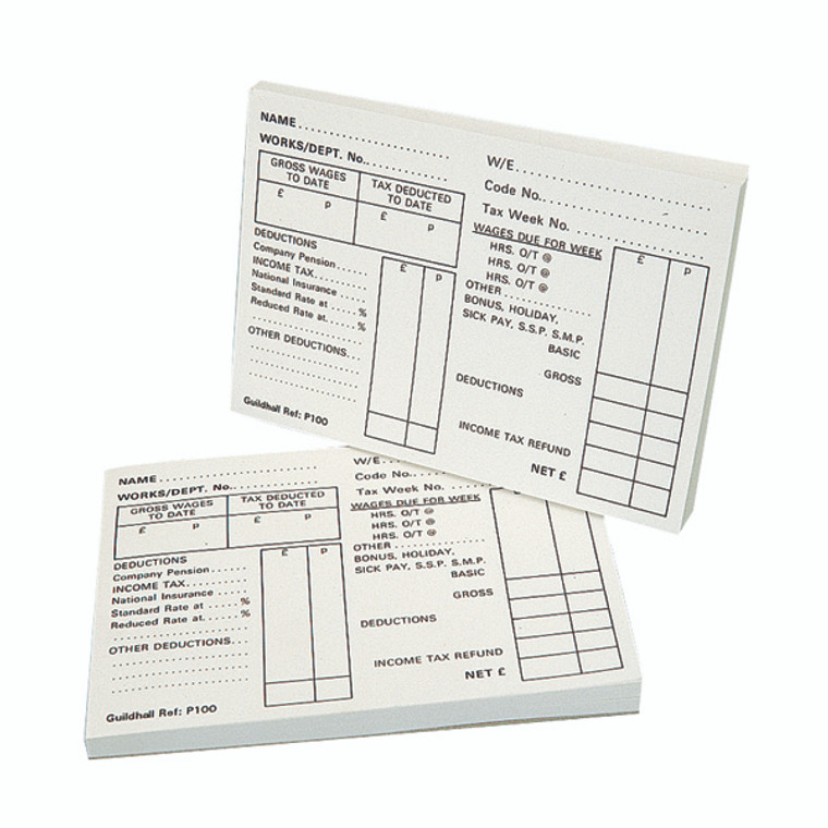 GHP100 Exacompta Guildhall Pay Slip Pad 100 Leaves Pack 5 1609