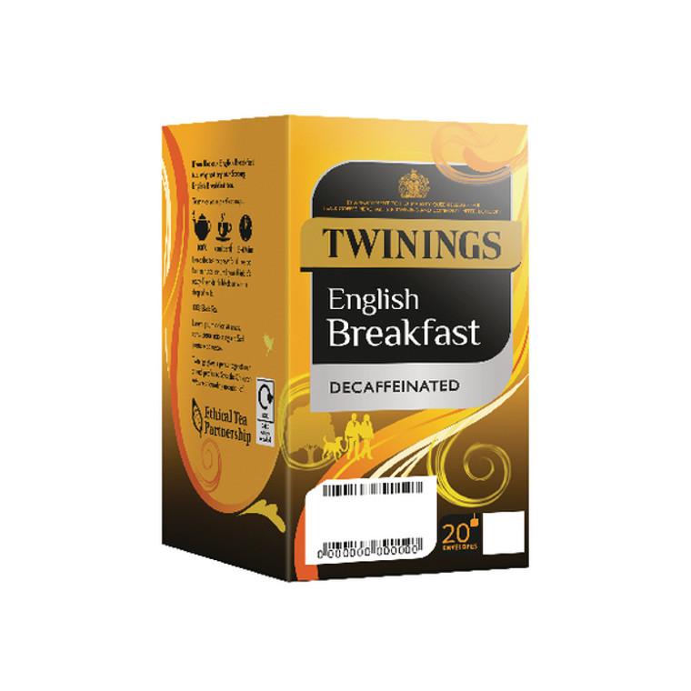 TQ85337 Twinings English Breakfast Decaffeinated Envelope Tea Bag Pk20x4 F12423