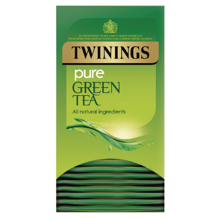 TQ65115 Twinings Pure Green Tea Bags Fresh slightly nutty flavour wih calming aroma Pack 20 F09542
