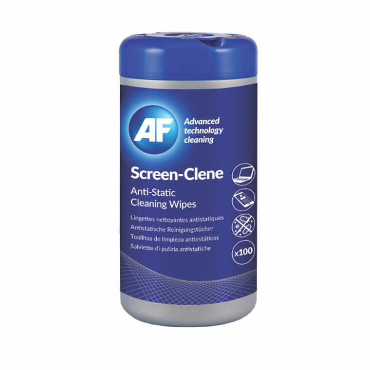 AFI50113 AF Screen-Clene Anti-Static Screen Wipes Tub Pack 100 ASCR100T