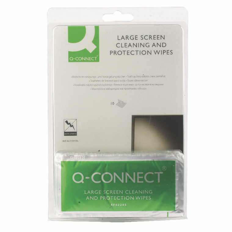 KF02245 Q-Connect Large Screen Protection Wipes Pack 10 KF02245A