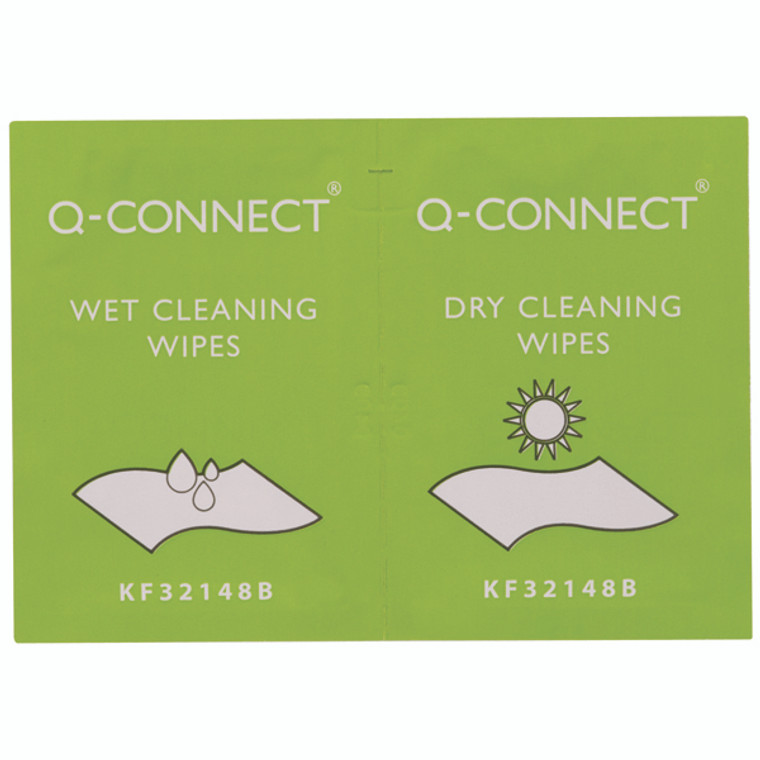 KF32148 Q-Connect Wet Dry Wipes Wet wipes cleaning dry wipes polishing Pack 20 KF32148