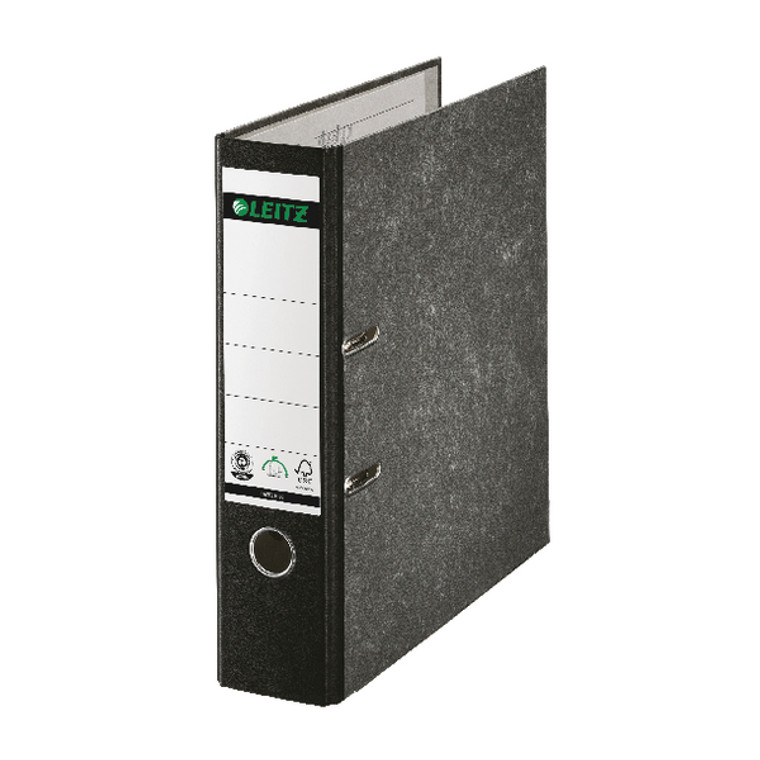 LZ108295 Leitz 180 Lever Arch File Board 80mm FC Black Pack 10 10821095