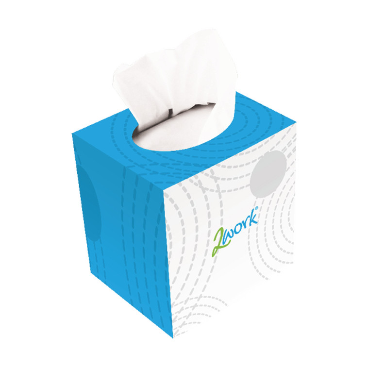 CPD13550 2Work Facial Tissues Cube 70 Sheets Pack 24 FTW070