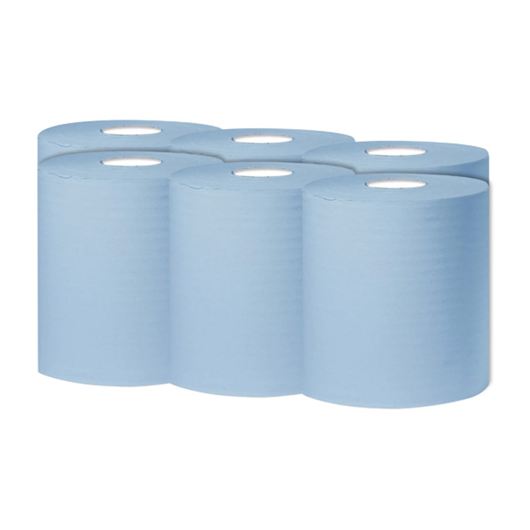 KF03803 2Work 1-Ply Centrefeed Roll 300m Blue Pack 6 KF03803